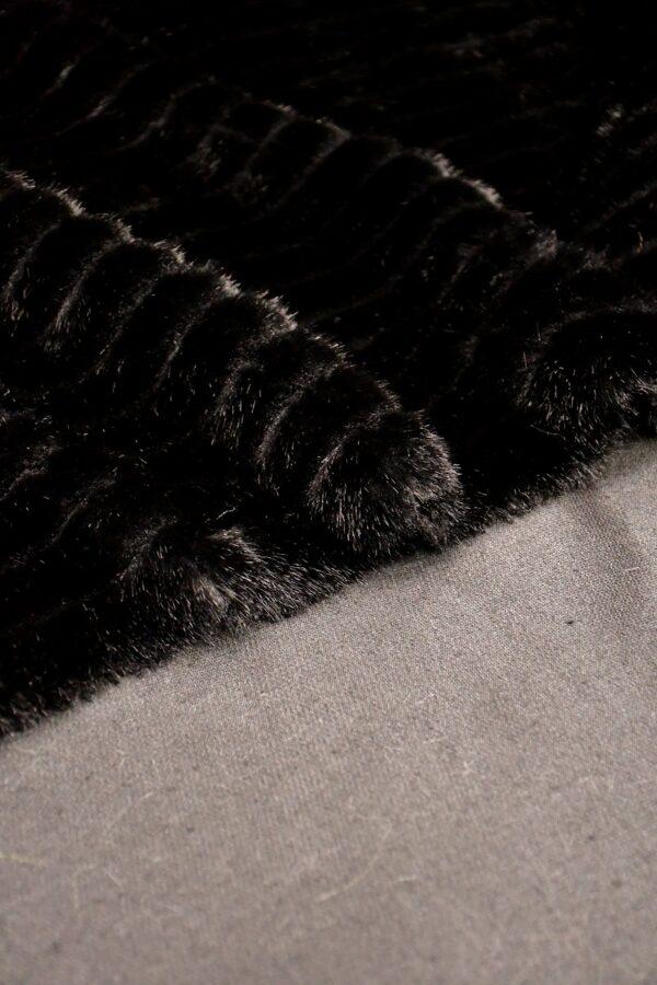Мех искусственный норка стриженный черный полоска (10588) - Фото 10