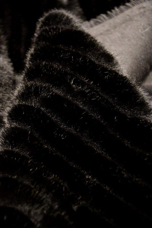 Мех искусственный норка стриженный черный полоска (10588) - Фото 9