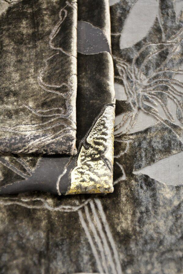 Панбархат графитно-коричневый с золотыми розами (10597) - Фото 10