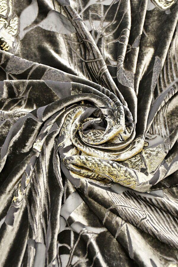 Панбархат графитно-коричневый с золотыми розами (10597) - Фото 7