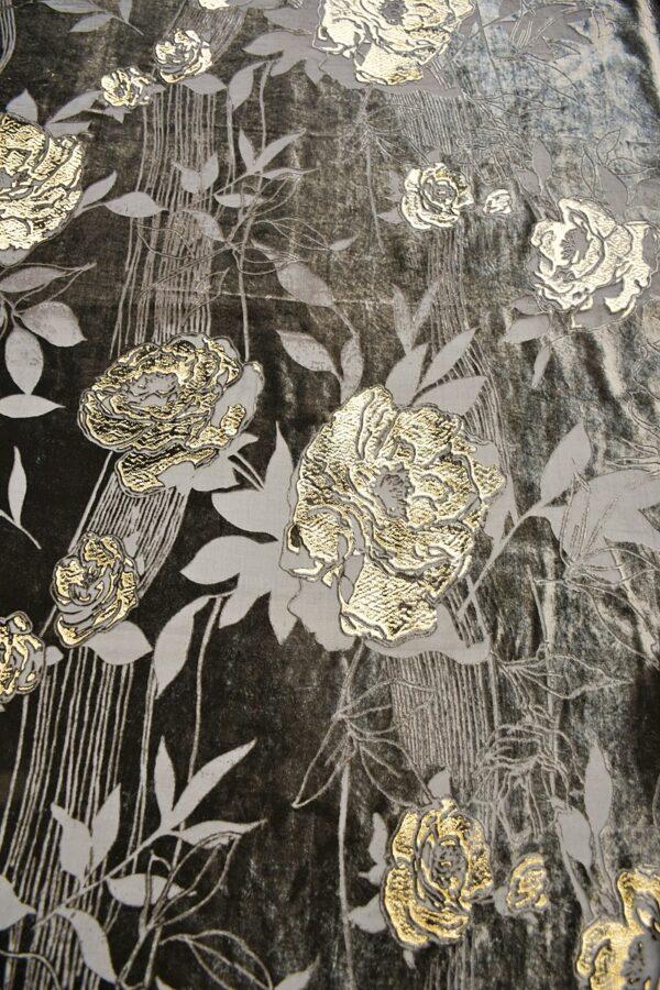 Панбархат графитно-коричневый с золотыми розами (10597) - Фото 8