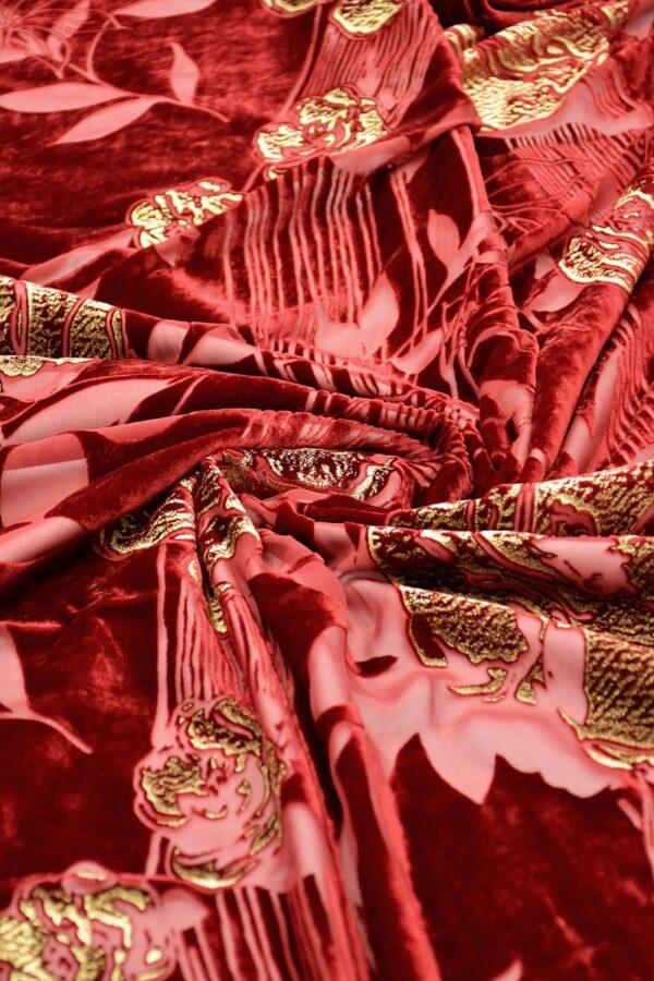 Панбархат золотые розы на красном (10598) - Фото 7