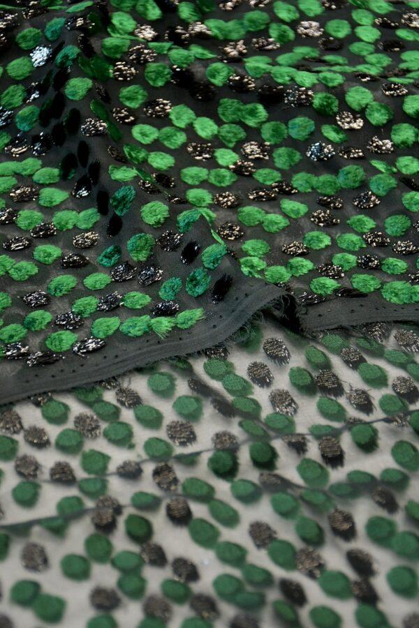 Бархат Деворе зеленый горох (10599) - Фото 9