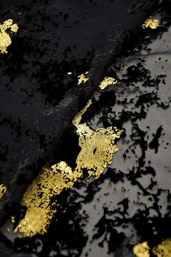 Панбархат черный с золотым абстрактным рисунком