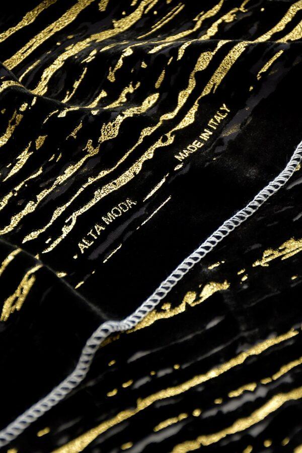 Панбархат купон черный с золотыми полосами