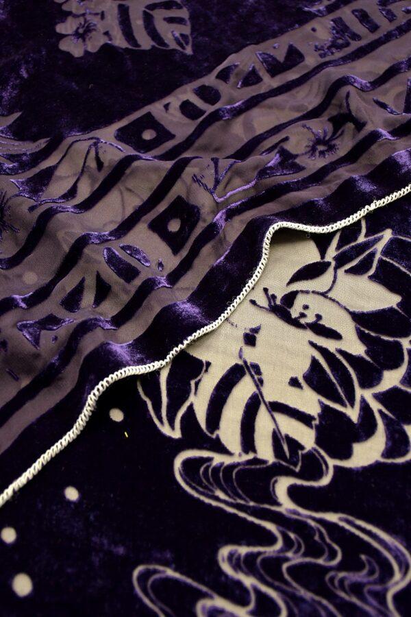 Панбархат фиолетовый цветы и рыбки Леонардо
