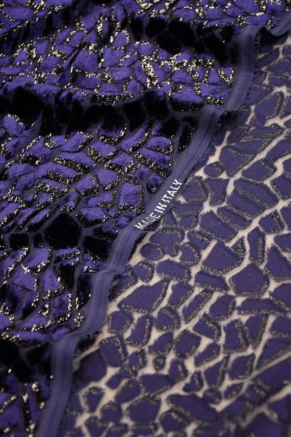 Панбархат сине-фиолетовый леопард с люрексом