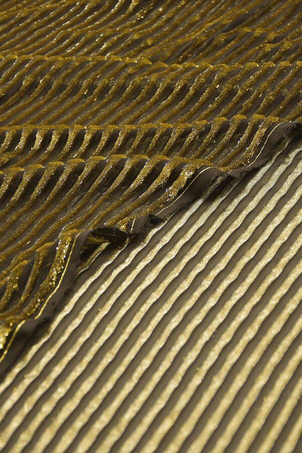 Панбархат черно-золотой в полоску