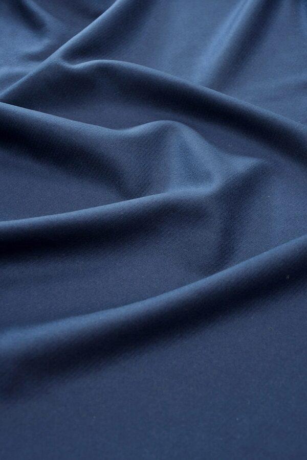 Драп шерсть темно-синий в рубчик
