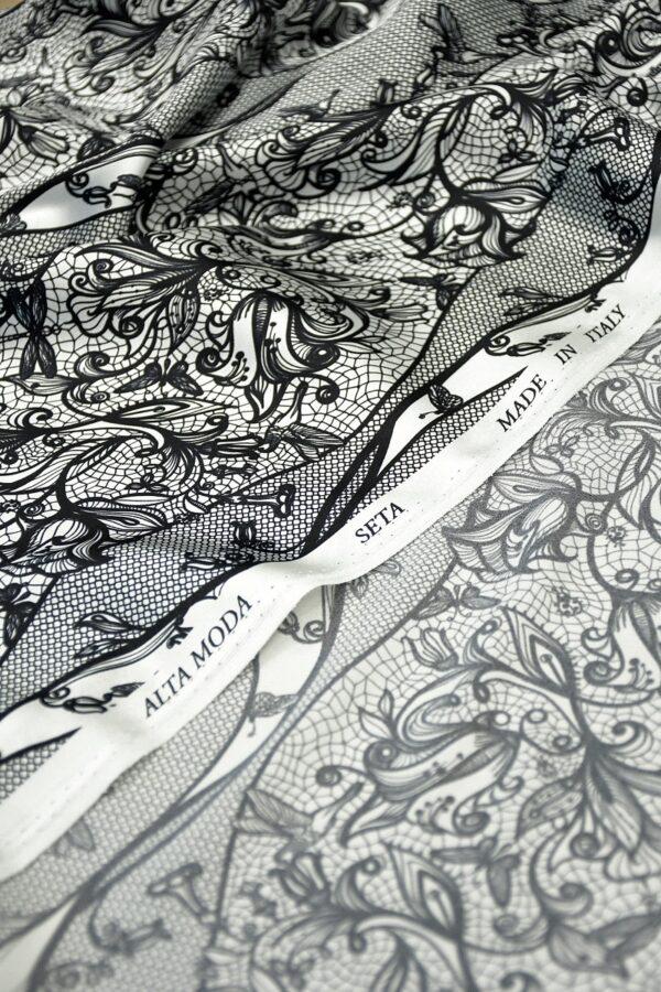 Атласный шелк стрейч черно-белый кружевной узор