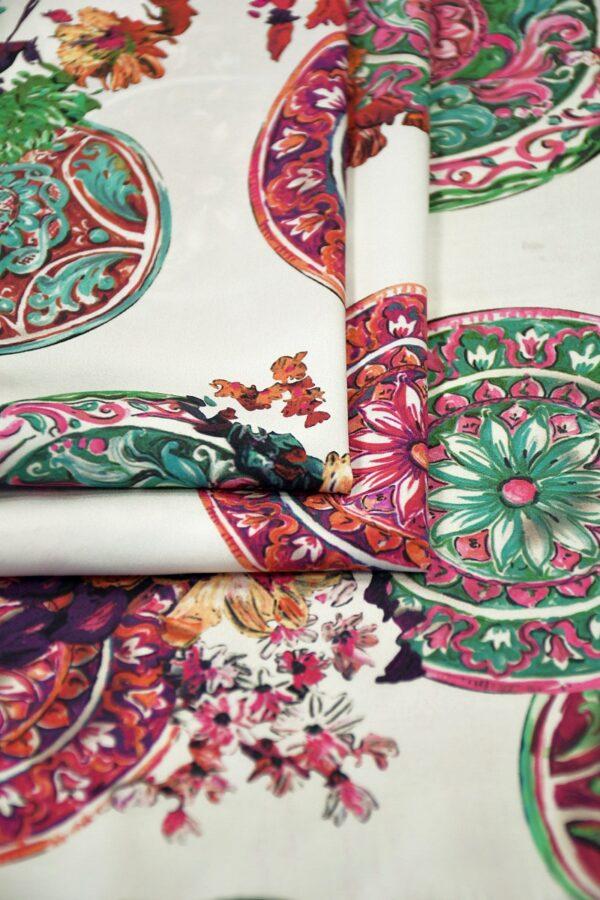 Шелк стрейч майолика цветы