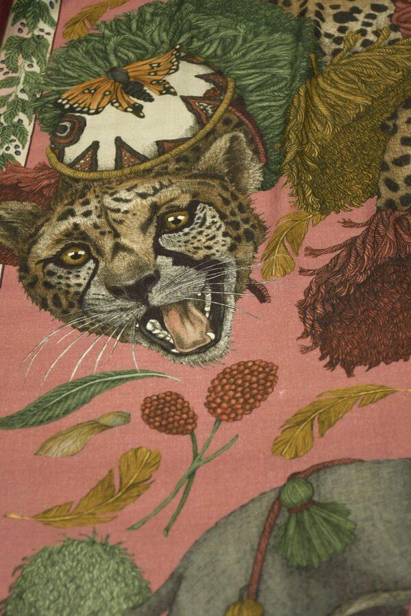 Платок кашемир розовый пудель леопард