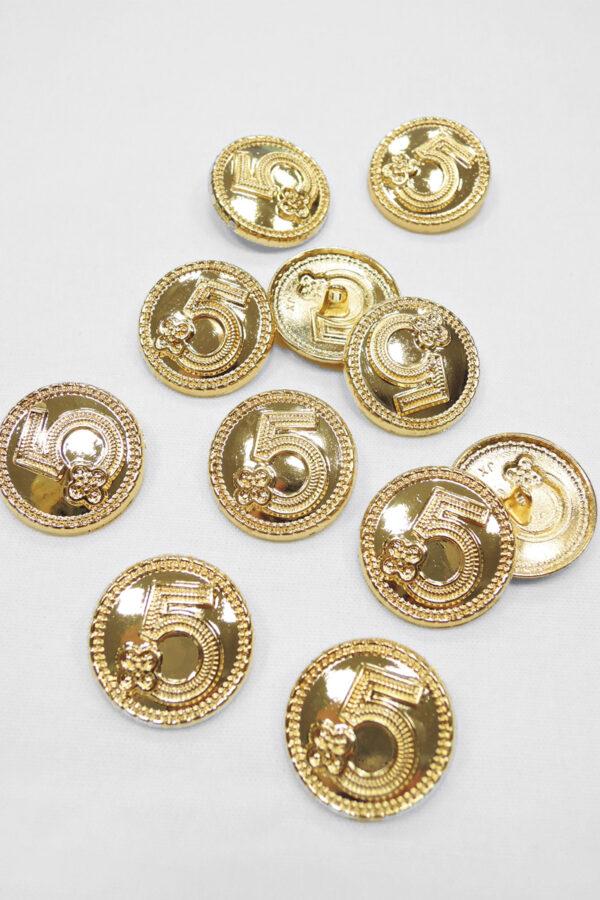 Пуговица металл золотая цифра 5 на ножке  25мм (p0930) к20 - Фото 7