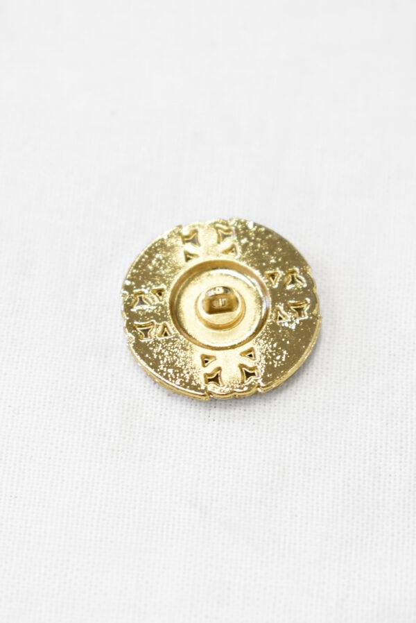 Пуговица золотистый металл на ножке белая эмаль костюмная 22 мм (p1103) к23 - Фото 8