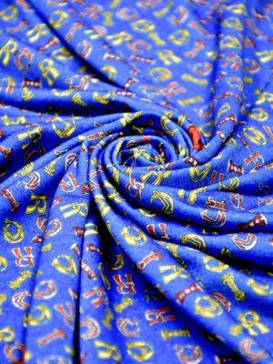 Трикотаж синий шерсть с шелком разноцветные буквы