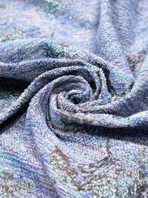 Шанель гобелен розово-голубой люрекс цветы