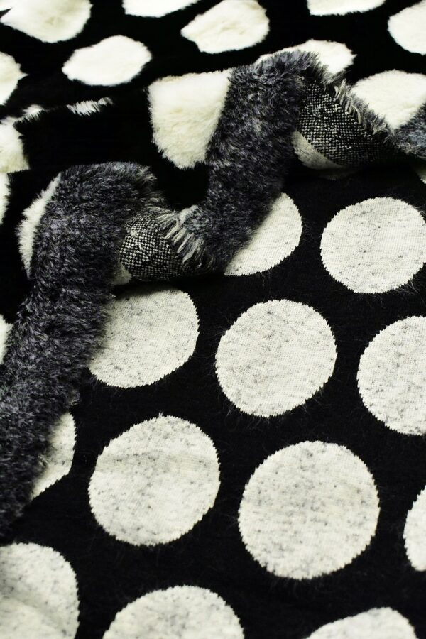 Мех искусственный мутон черный белый горох