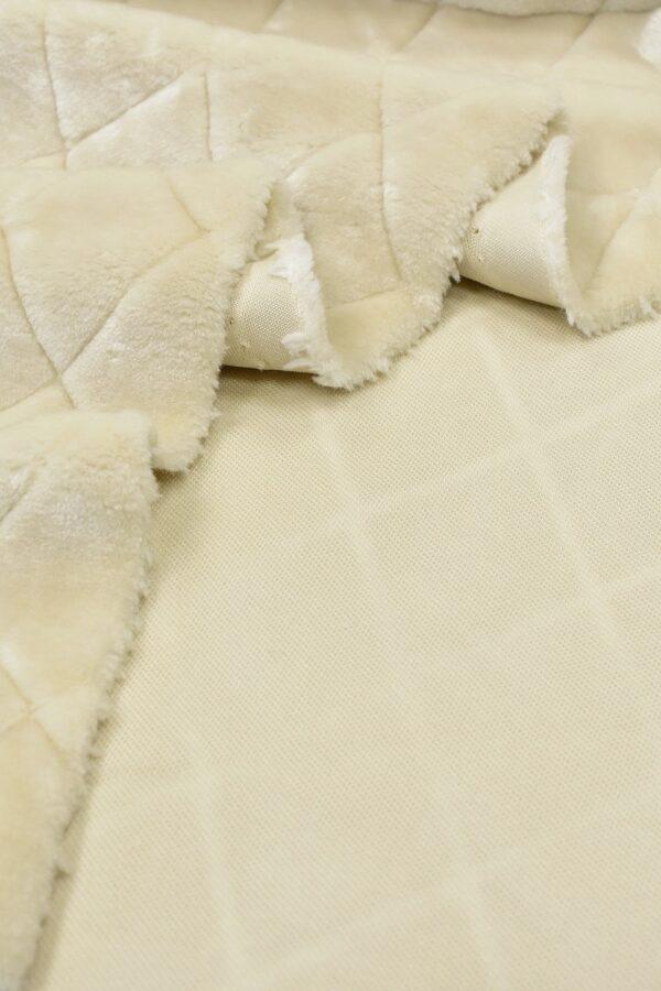 Мех искусственный мутон ромбы топленое молоко