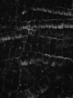 Мех искусственный мутон стриженный полоска черный