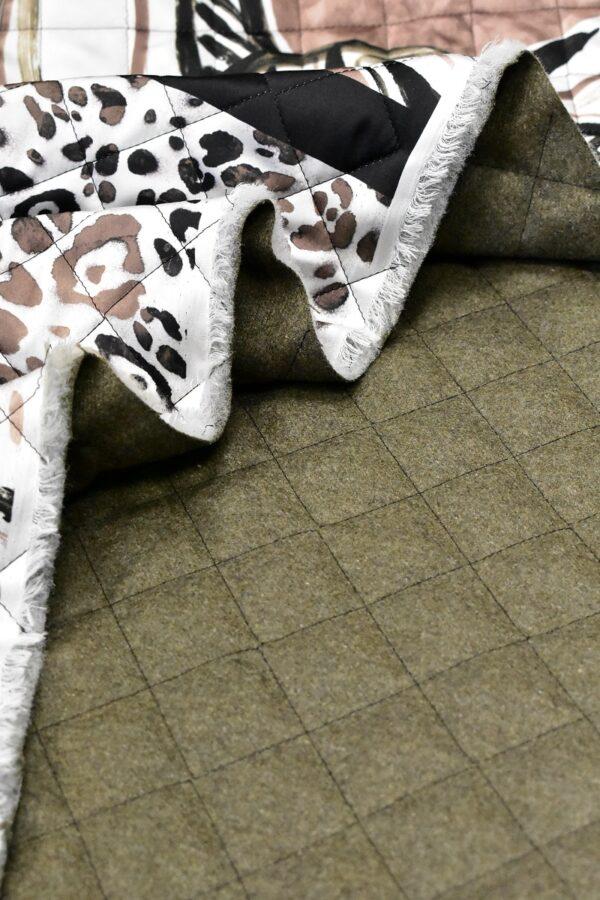 Курточная стежка белая коричневый леопард листья купон