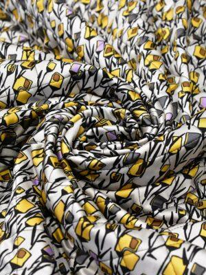 Курточная стежка серая желтые цветы