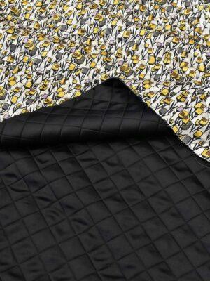 Курточная стежка двухсторонняя черная серая желтые цветы