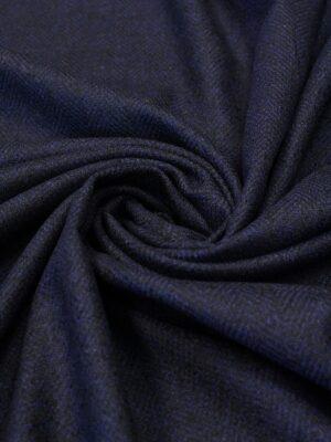 Твид шерстяной темно-синий в елочку
