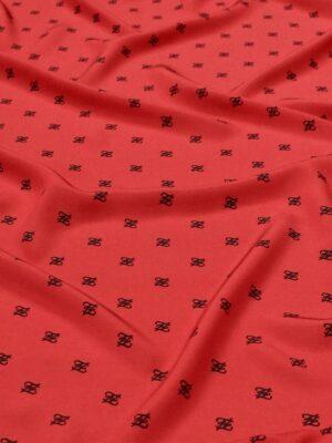 Крепдешин шелковый красный черные буквы
