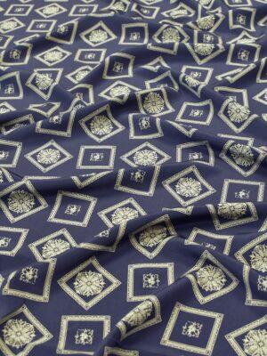 Крепдешин шелковый темно-синий золотистые узоры