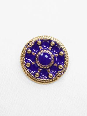Пуговица металл золото фиолетовая эмалью (p0904)