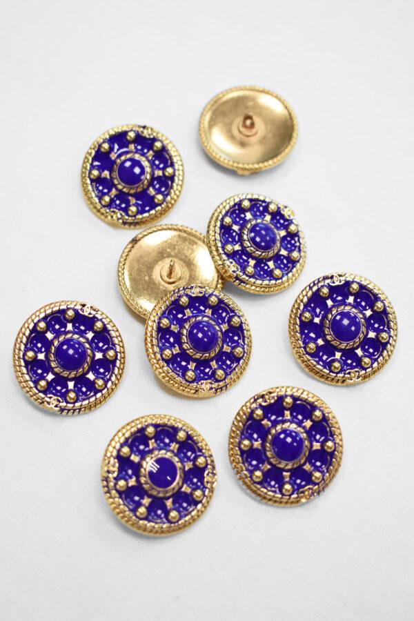 Пуговица металл золото фиолетовая эмалью (p0904) 2