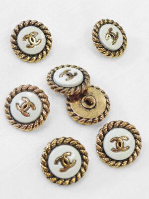 Пуговица темное золото с белой эмалью (р0924) 2
